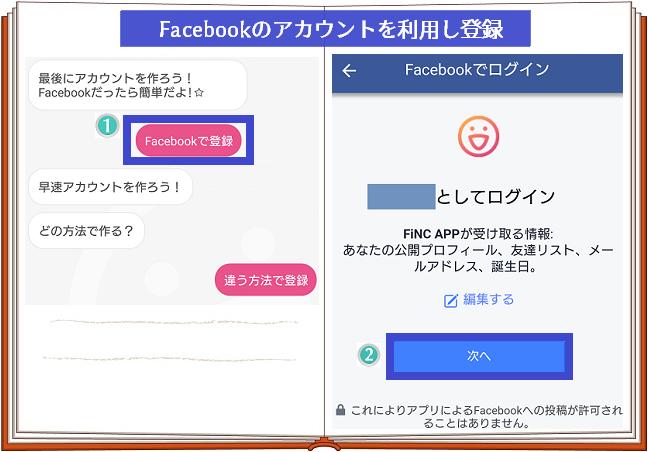 FiNCFacebook連携登録