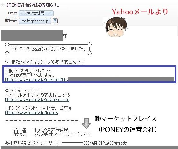 ポニーの登録~メール受信画面
