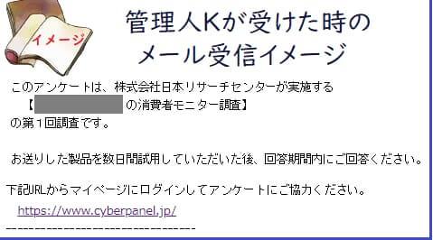 サイバーパネルの商品モニターの受信メール状況