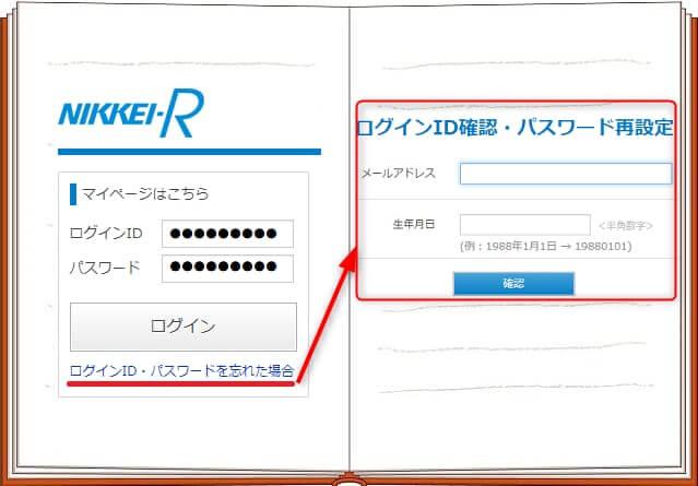 ログインとパスワード忘れのときに対処する画面