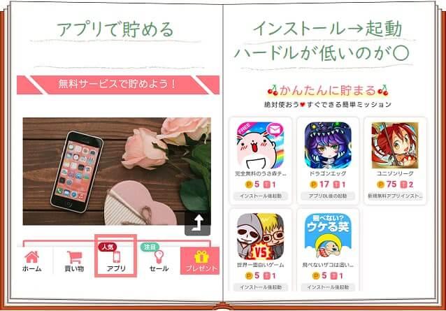 ぽちものアプリで貯めるについてのイメージ