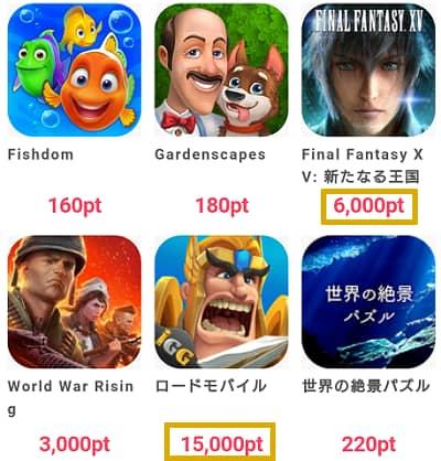 高ポイント還元のアプリゲームのラインナップ